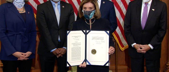 Nancy Pelosi signs Trump's second impeachment